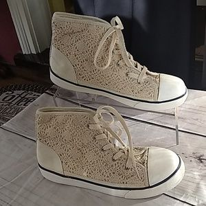Cream Crochet Lace High Tops Sneakers